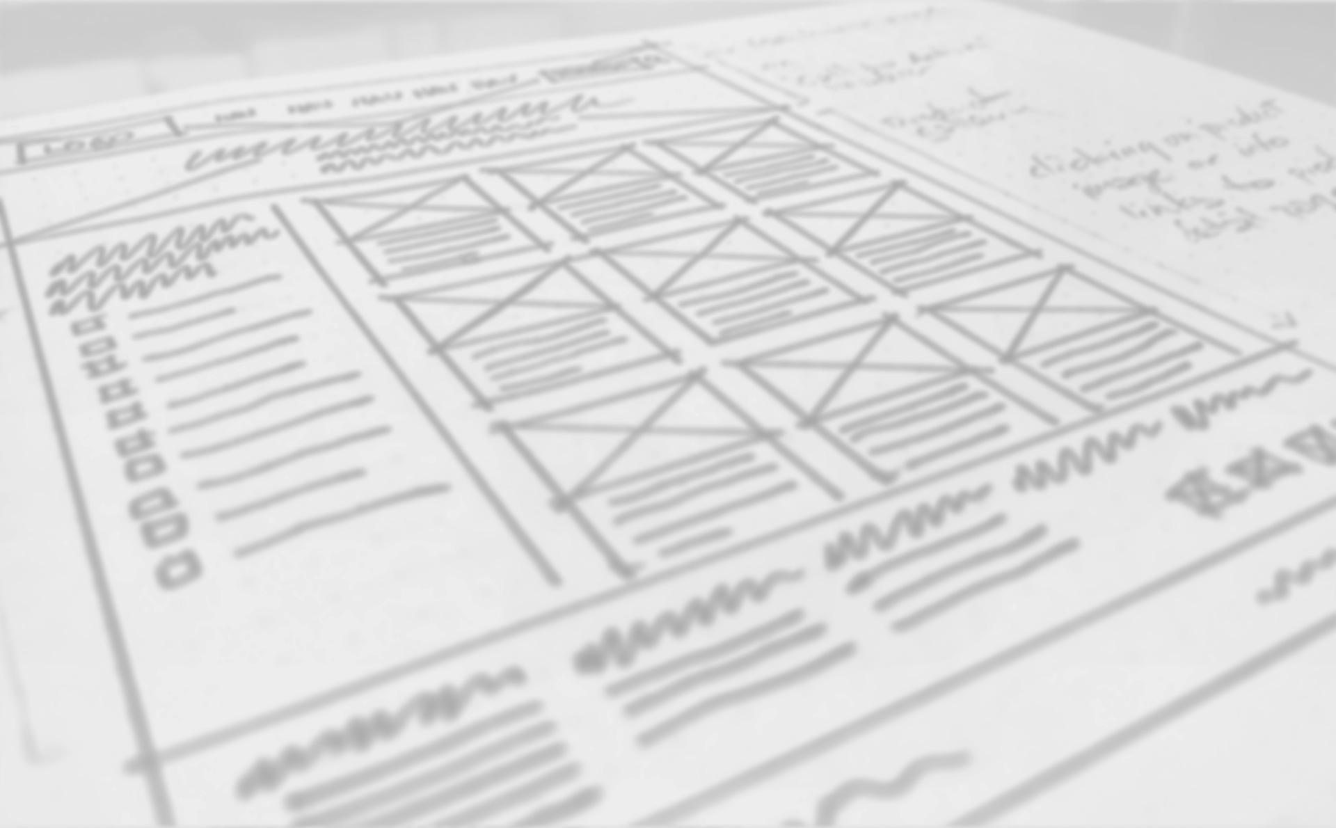 Hand-rendered website wireframe